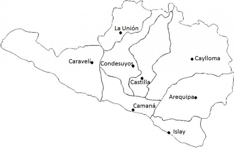 mapa de Arequipa para colorear con nombres